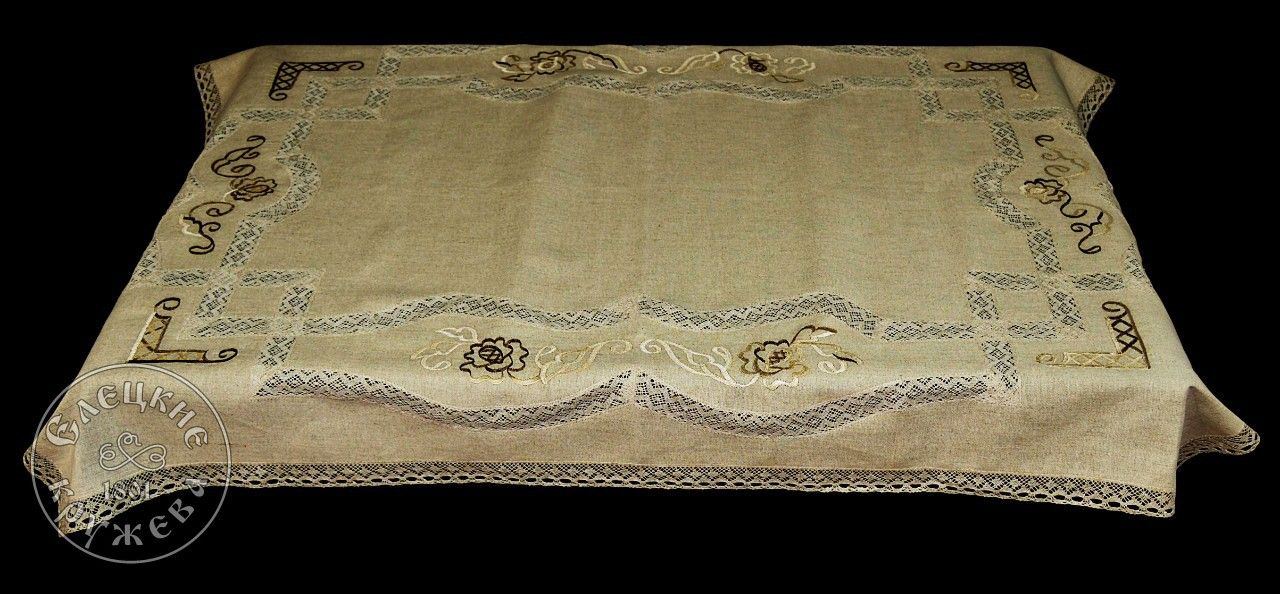 Yelets lace / Linen tablecloth С2013А