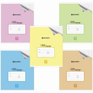 Notebook 12 sheets BRAUBERG ECO, cage, offset cover, PASTEL WITH CORNER