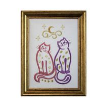 Panel 'Cats' in white color with Golden embroidery