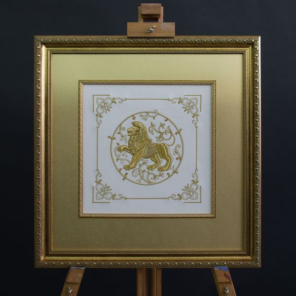 Panels of hand-embroidered 'lion' of white color with Golden embroidery