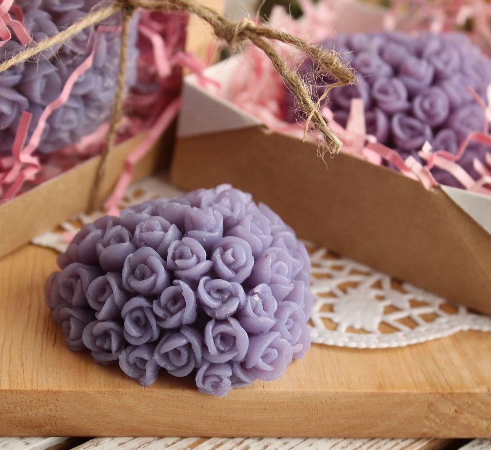 Lilac rose heart - olive handmade soap