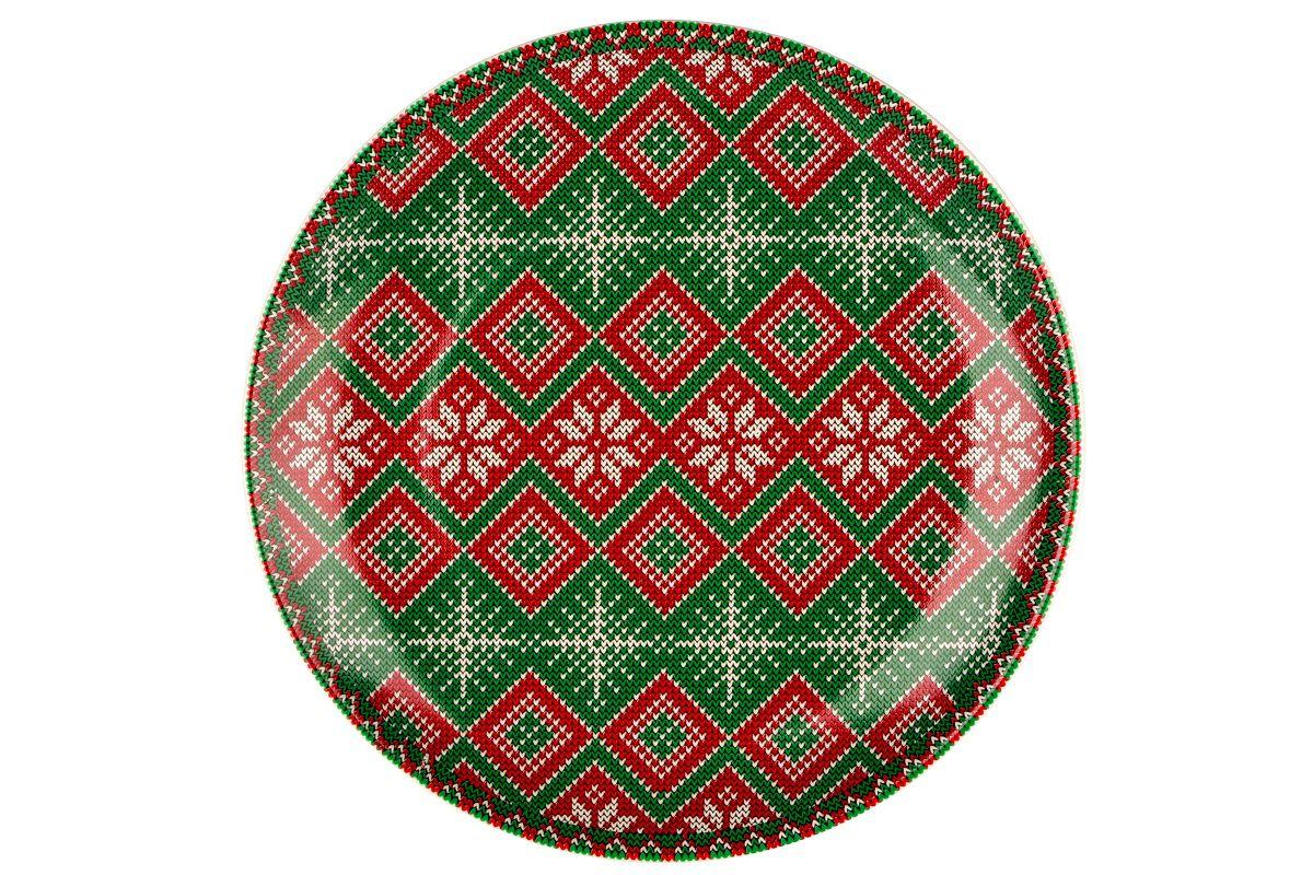Dulevo porcelain / Plate 210 mm New Year (green) (Ceramics)