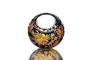 "Crystal vase-basket ""Ball"" medium amber-blue"