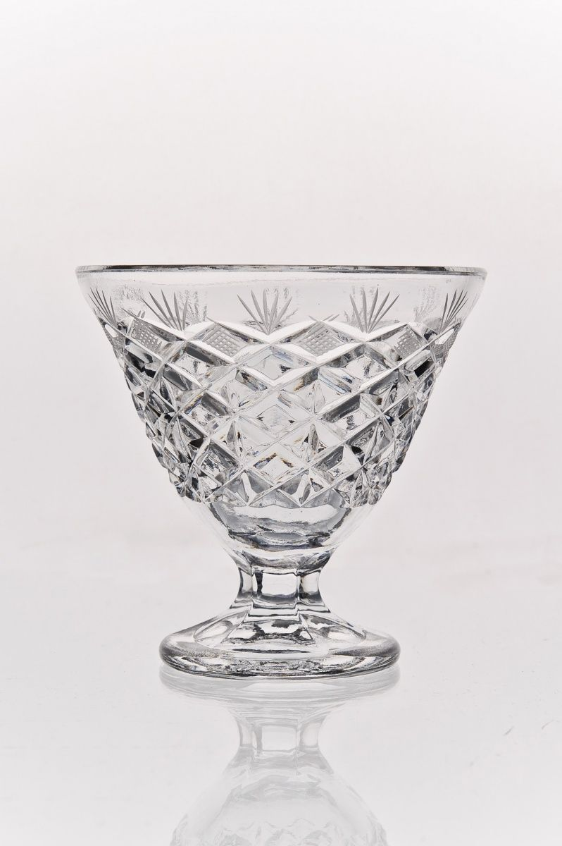 """Crystal vase for cream """"Rhombuses"""" colorless"""