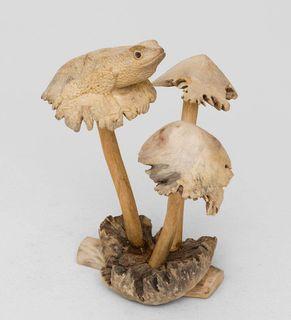 """Wooden figurine """"Frog on mushroom"""""""