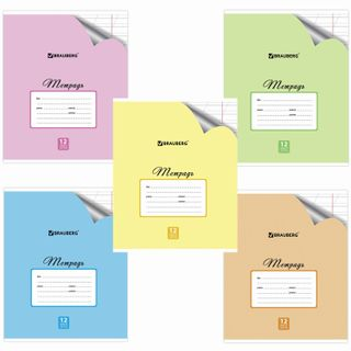 Notebook 12 sheets BRAUBERG ECO, oblique line, offset cover, PASTEL WITH CORNER