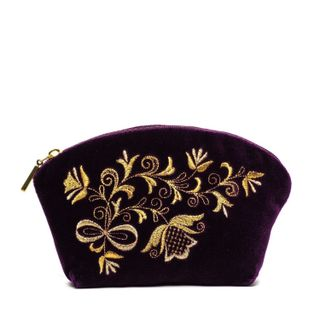 "Velvet cosmetic bag ""Bouquet"" purple with gold embroidery"