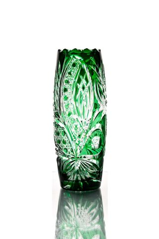 """Crystal vase for flowers """"Charm"""" green"""