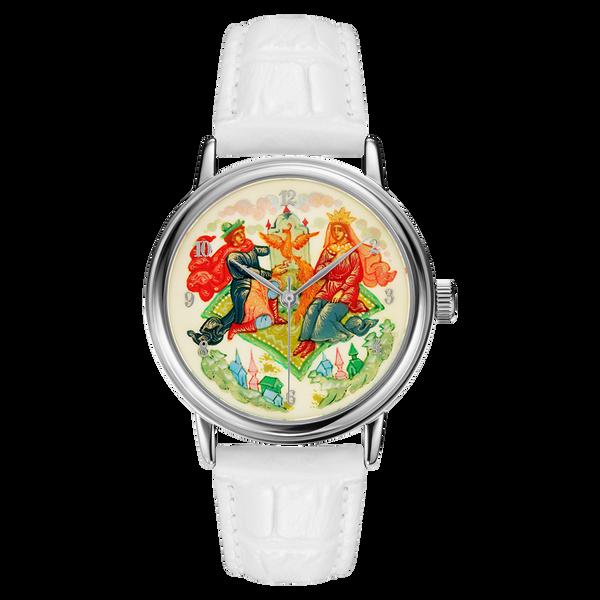 "Palekh watch ""Magic carpet №27"" quartz, hand-painted, artist Smirnov, white band"