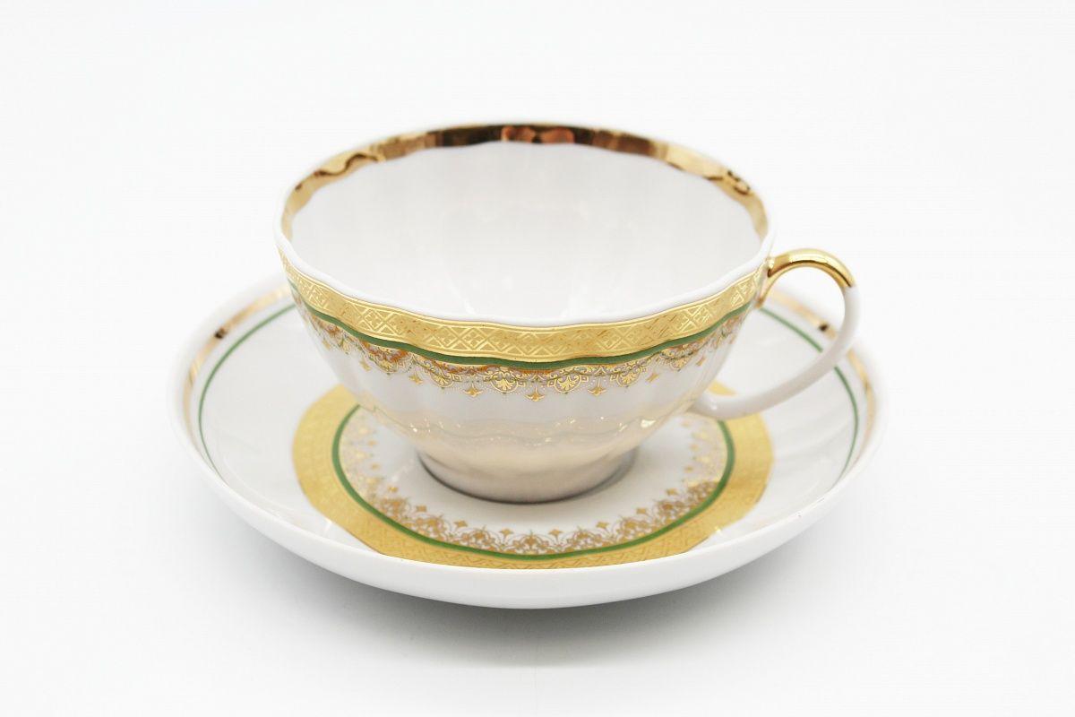 Dulevo porcelain / Tea cup and saucer set, 12 pcs., 275 ml White Swan Necklace