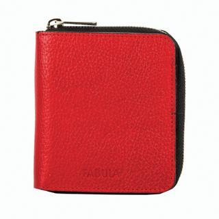 Purse women's FABULA, 105х110 mm, genuine leather, zipper, red with black