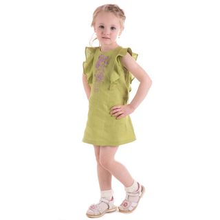 "Dress baby ""Caramel"" green with silk embroidery"