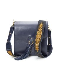 Leather bag 'Astrid' blue with silk embroidery