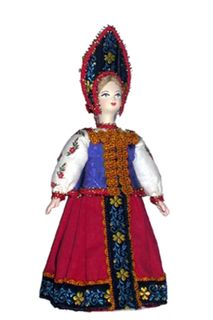 Doll gift porcelain Akulina, the national summer suit, Late 18th - early 19th century.