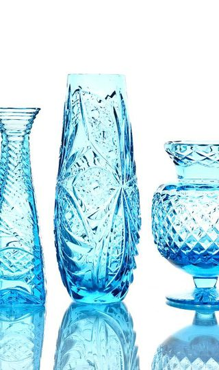 """Crystal vase for flowers """"Drop"""" large turquoise"""