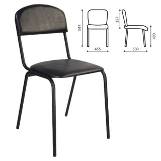 RS00K visitor chair, black frame, leather.