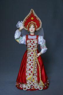 Doll gift porcelain. The Ural region Russia. Women's festive costume. K. 19-B. 20.