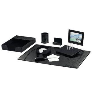 GALANT table set made of eco-leather, 8 items, crocodile skin, black