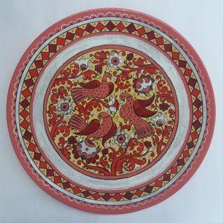"Plate wooden ""Boretskaya painting. Three birds"" 25 cm"