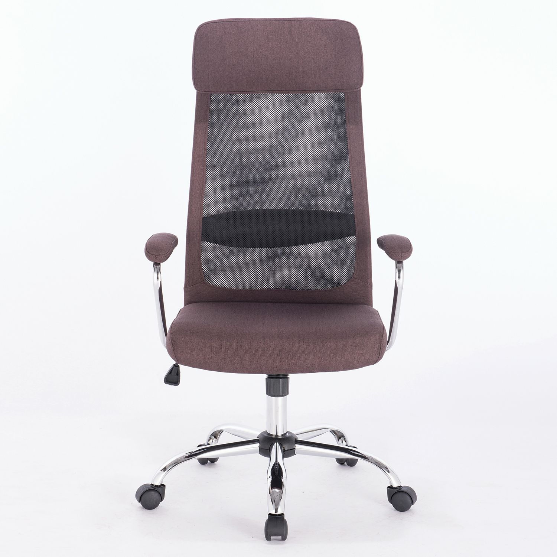 "Office chair BRABIX ""Flight EX-540"", chrome, fabric, mesh, brown"