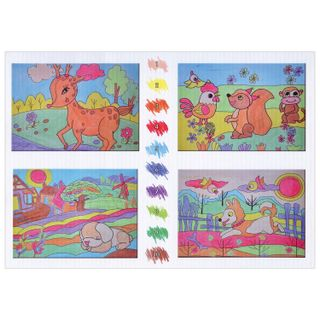 Coloring by numbers A4, INLANDIA ANIMAL pictures WITH WAX CRAYONS, 4 pics