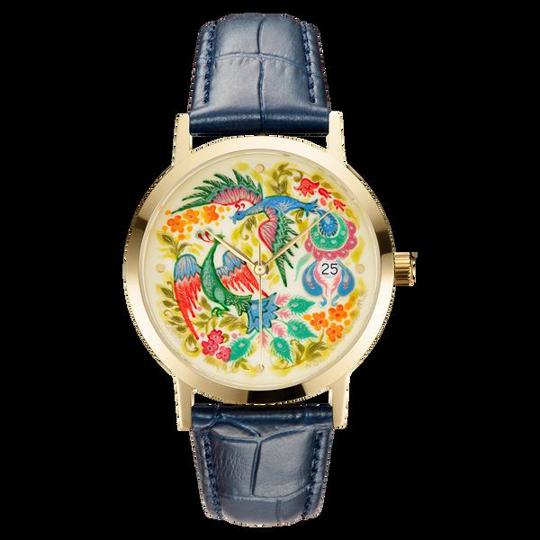 "Palekh watch ""Birds of paradise №32"" quartz, hand-painted, artist Smirnov, navy blue band"