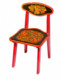 "Khokhloma painting / Wooden children's chair ""Khokhloma painting"", 2 height category"
