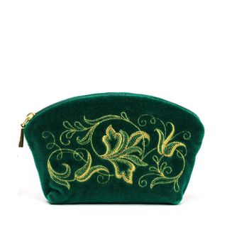 "Velvet cosmetic bag ""Romance"" emerald"