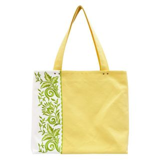 "Linen bag ""lyre"" yellow color with silk embroidery"