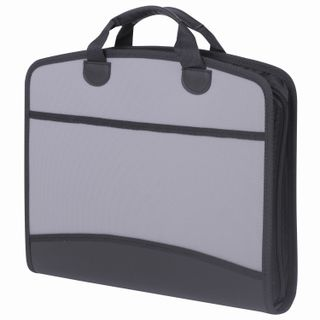 Bag pouch plastic BRAUBERG A4+ (375х305х60 mm), 4 pockets, 2 pockets, grey