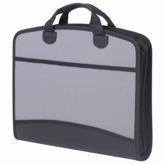 Bag pouch plastic BRAUBERG A4+ (375х305х60 mm), 4 pockets, 2 pockets, grey