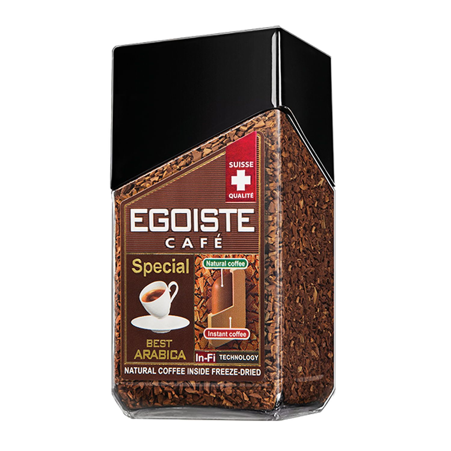 """EGOISTE / Ground coffee in instant """"Special"""" natural, 100% Arabica, glass jar 100 g"""