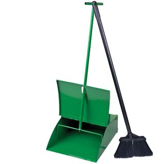 Metal garbage scoop with lid + brush with metal handle 75 cm (sweeping set)