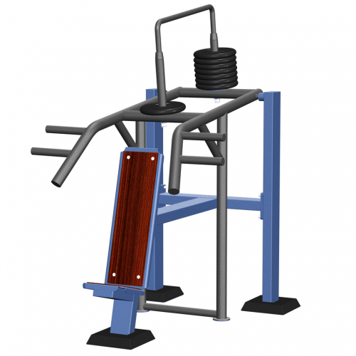 MB Barbell / Outdoor strength trainer for the development of muscles of the back, biceps, press with a variable load from a sitting position, version 1