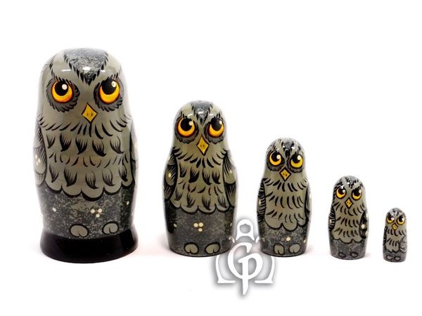 Owl - matryoshka booklet, 5 dolls - author's gray