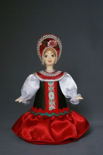 Doll gift porcelain. Girl in traditional costume(styling). Late 19th - early 20th century. Russia.