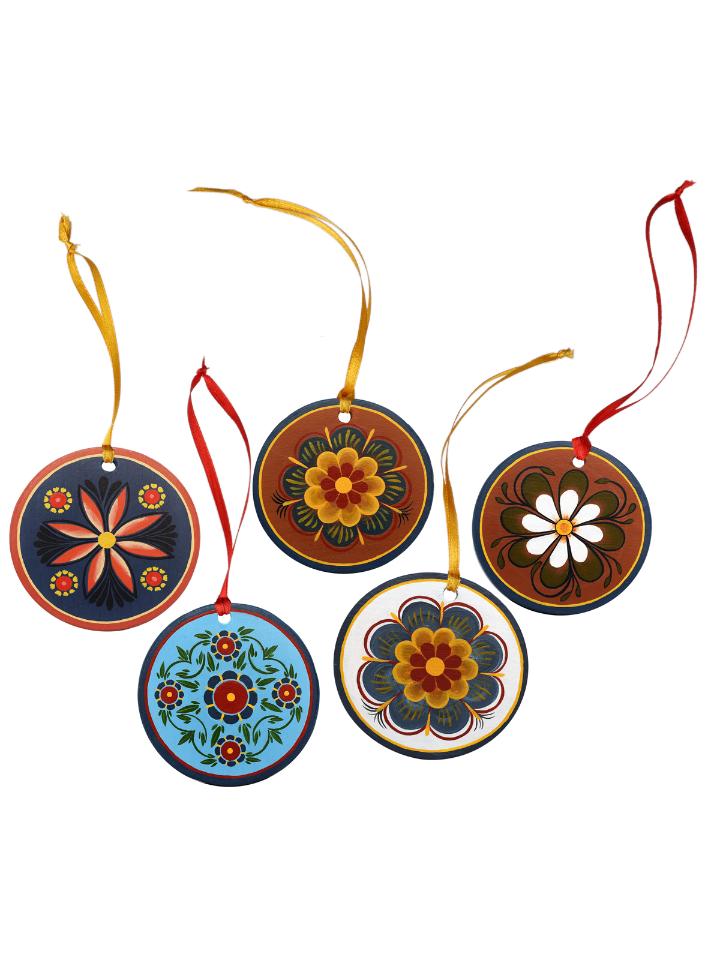 Shugozerskaya painting / Set of interior pendant decorations with compositions of Shugozerskaya painting