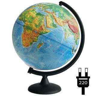 Physical relief globe with a diameter of 300 mm with backlight