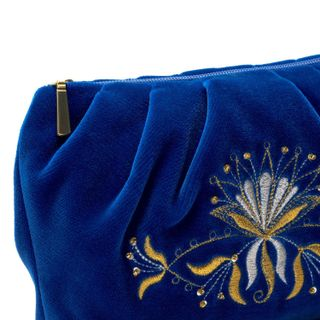 """Velvet cosmetic bag """"Aida"""" blue with gold embroidery"""