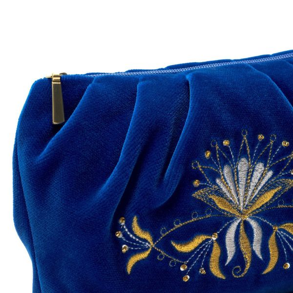 Velvet cosmetic bag 'Aida' blue with gold embroidery
