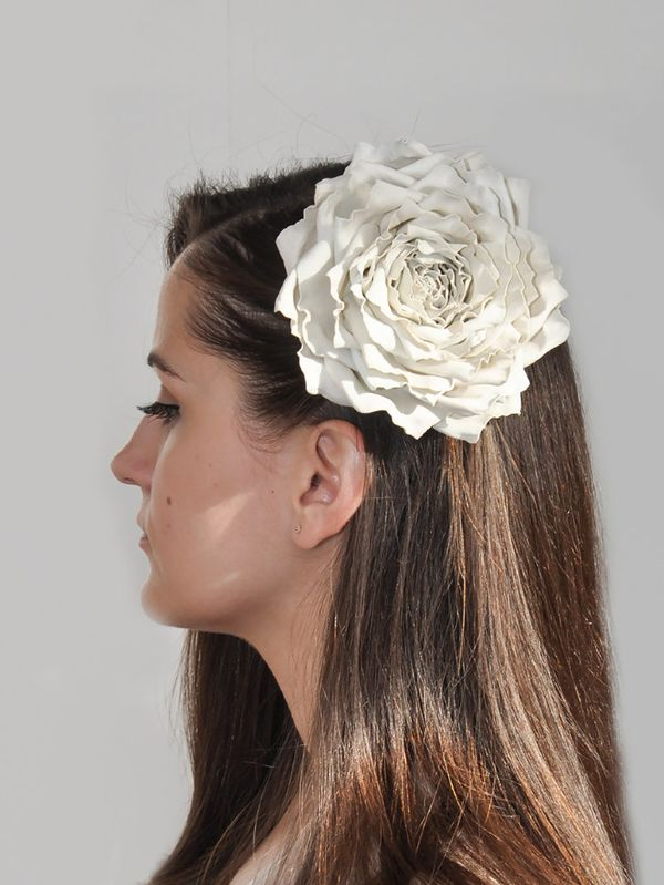 Brooch hairpin Rose ivory