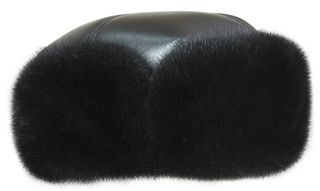 Winter men's mink cap with natural leather Boyarka Nappa-0460