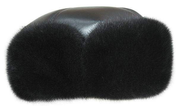 Winter men's mink cap with natural leather Boyarka Nappa-0460