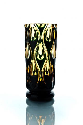 "Crystal vase for flowers ""Bohemia"" amber-green"