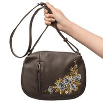 Bag made of eco-leather 'Spring' brown with gold embroidery