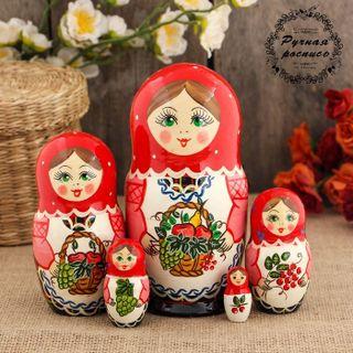 "Matryoshka ""Fruits"" 5 dolls red scarf"