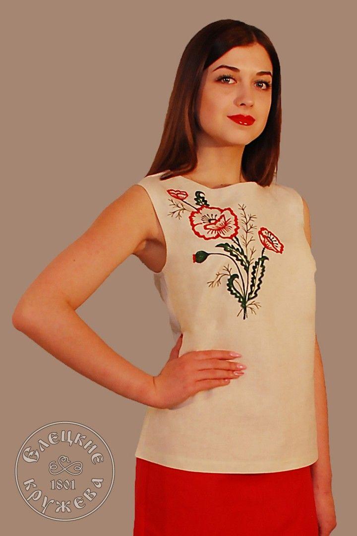 Yelets lace / Women's linen top С11725