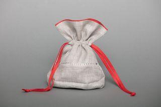 Linen bag for dry herbs big red / yellow