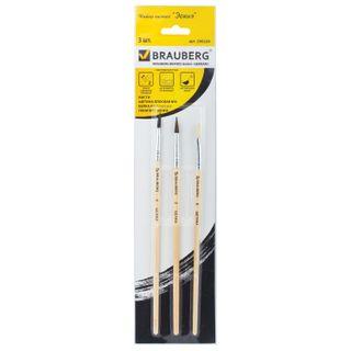 BRAUBERG brushes, set of 3 PCs (round squirrel No. 3, pony round No. 4, bristle flat No. 6), blister