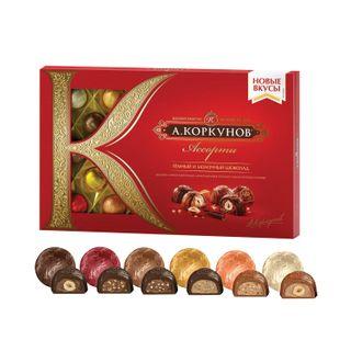 KORKUNOV / Assorted chocolates of dark and milk chocolate, 192 g, cardboard box